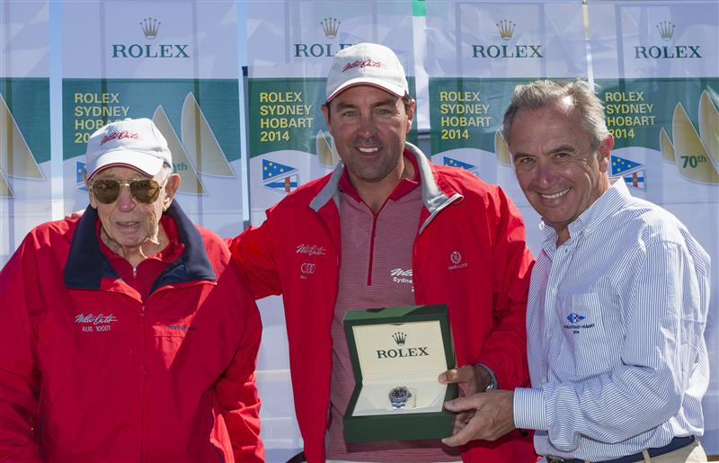 BOB OATLEY, OWNER OF WILD OATS XI, AND SKIPPER MARK RICHARDS RECEIVE THE ROLEX YACHT-MASTER TIMEPIECE FOR LINE HONOURS FROM JEAN-NÖEL BIOUL, ROLEX SA - Photo By: Rolex / Carlo Borlenghi